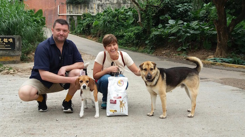 Mark, Ruby, Susan and Flanders on the day of his adoption: 24 March 2017 at Hong Kong Dog Rescue!